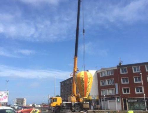 Pose d'une montgolfière à Calais