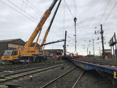 Elinguage, levage et guidage d'urgence pour le replacement de wagons sur rails à Dunkerque dans le Nord