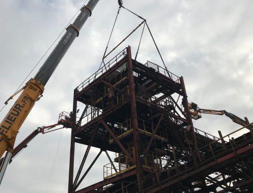Levage et mise en place d'un plancher de 25 tonnes