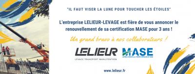 Notre certification MASE a été renouvelée pour 3 ans, félicitation à nos équipes de manutention, levage, transport et curage de bassin Nord-Pas-de-Calais.