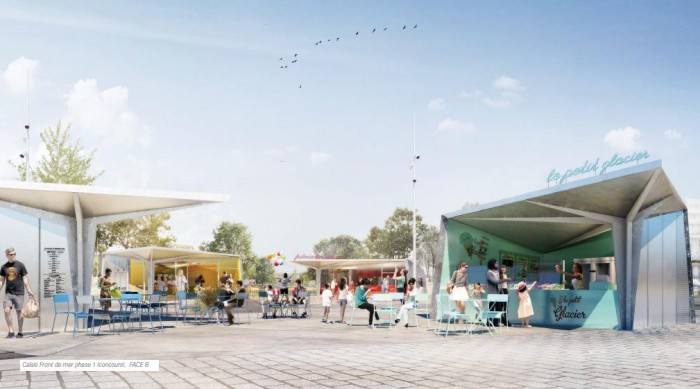 Levage et mise en place de kiosques sur la nouvelle place d'animation du front de mer à Calais dans les Hauts-de-France